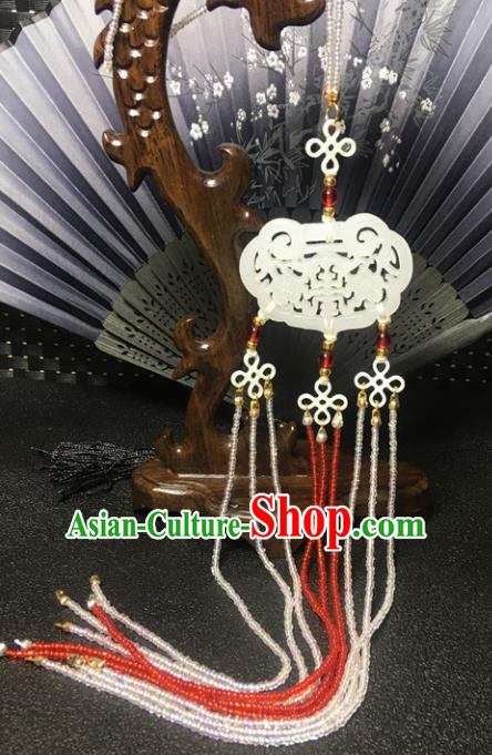 Traditional Chinese Hanfu Jade Carving Waist Accessories Beads Tassel Pendant Ancient Swordsman Brooch