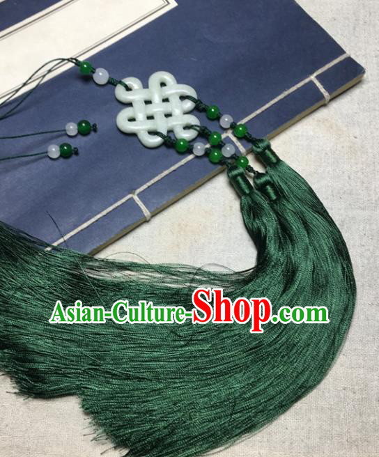 Traditional Chinese Hanfu Jade Carving Auspicious Waist Accessories Green Tassel Pendant Ancient Swordsman Brooch
