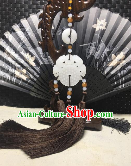 Traditional Chinese Hanfu Jade Carving Pi Xiu Waist Accessories Palace Brown Tassel Pendant Ancient Swordsman Brooch