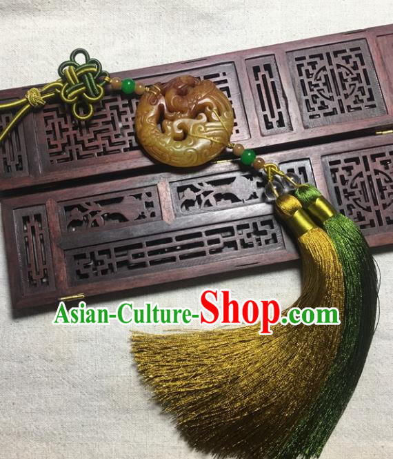 Traditional Chinese Hanfu Yellow Jade Carving Dragon Waist Accessories Palace Tassel Pendant Ancient Swordsman Brooch