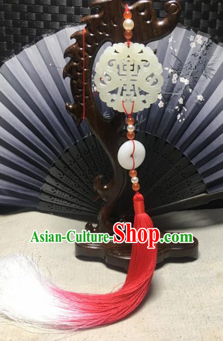 Traditional Chinese Hanfu Jade Carving Dragon Waist Accessories Palace Red Tassel Pendant Ancient Swordsman Brooch