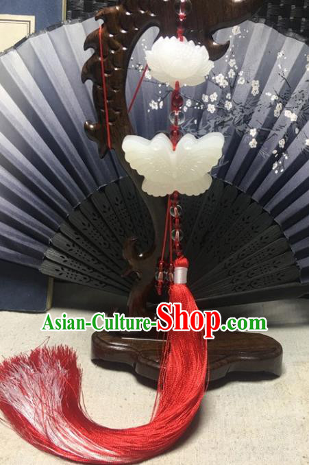 Traditional Chinese Hanfu Jade Carving Butterfly Lotus Waist Accessories Palace Red Tassel Pendant Ancient Swordsman Brooch
