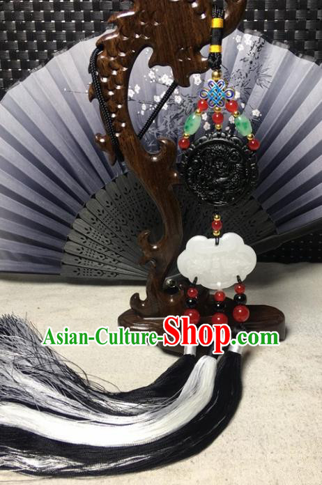 Traditional Chinese Hanfu Black Jade Carving Waist Accessories Palace Tassel Pendant Ancient Swordsman Brooch