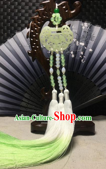 Traditional Chinese Hanfu Jade Carving Bat Waist Accessories Palace Green Tassel Pendant Ancient Swordsman Brooch