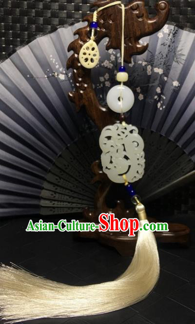 Traditional Chinese Hanfu Jade Carving Waist Accessories Palace White Tassel Pendant Ancient Swordsman Brooch