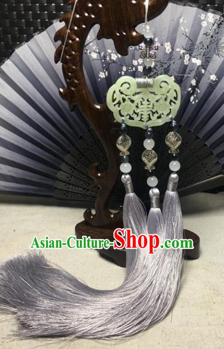 Traditional Chinese Hanfu Jade Carving Plum Waist Accessories Palace Grey Tassel Pendant Ancient Swordsman Brooch