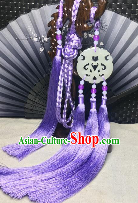 Traditional Chinese Hanfu Jade Carving Dragon Waist Accessories Palace Purple Tassel Pendant Ancient Swordsman Brooch