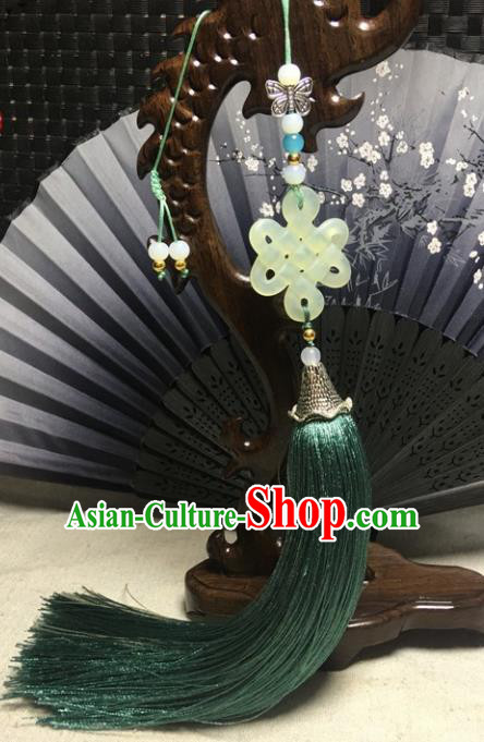Traditional Chinese Hanfu Jade Carving Knot Waist Accessories Palace Green Tassel Pendant Ancient Swordsman Brooch