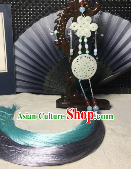 Traditional Chinese Hanfu White Jade Carving Lucky Bat Waist Accessories Palace Tassel Pendant Ancient Swordsman Brooch