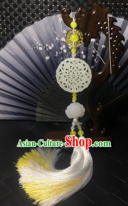 Traditional Chinese Hanfu Jade Carving Bat Lotus Waist Accessories Palace Tassel Pendant Ancient Swordsman Brooch