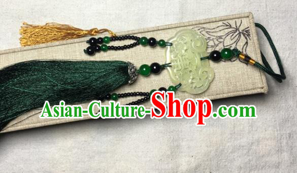 Traditional Chinese Hanfu Jade Carving Plum Lock Waist Accessories Palace Green Tassel Pendant Ancient Swordsman Brooch