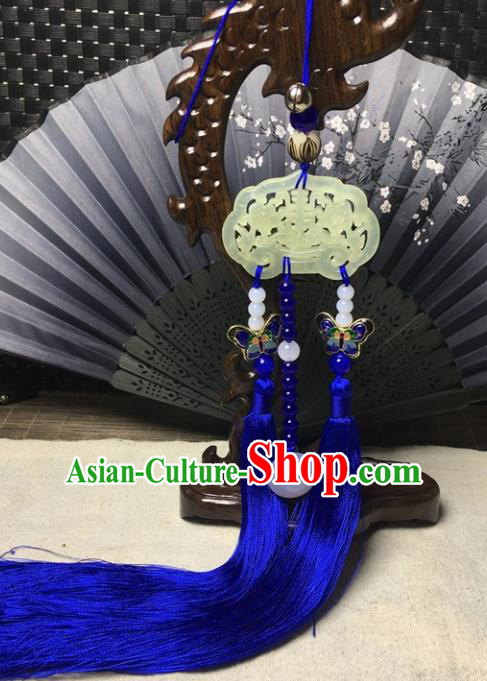 Traditional Chinese Hanfu Jade Carving Plum Lock Waist Accessories Palace Blue Tassel Pendant Ancient Swordsman Brooch