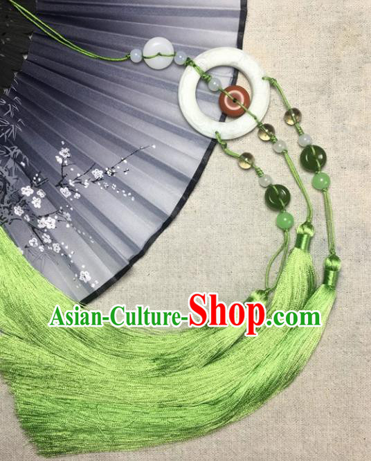 Traditional Chinese Hanfu Jade Carving Buddhist Mantra Waist Accessories Palace Green Tassel Pendant Ancient Swordsman Brooch