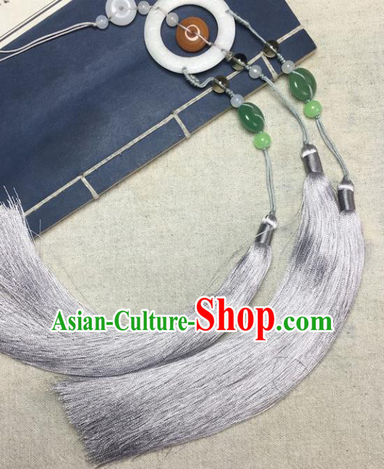 Traditional Chinese Hanfu Jade Carving Buddhist Mantra Waist Accessories Palace Grey Tassel Pendant Ancient Swordsman Brooch