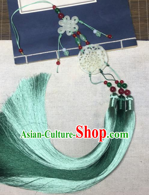 Traditional Chinese Hanfu Jade Carving Waist Accessories Palace Green Tassel Pendant Ancient Swordsman Brooch