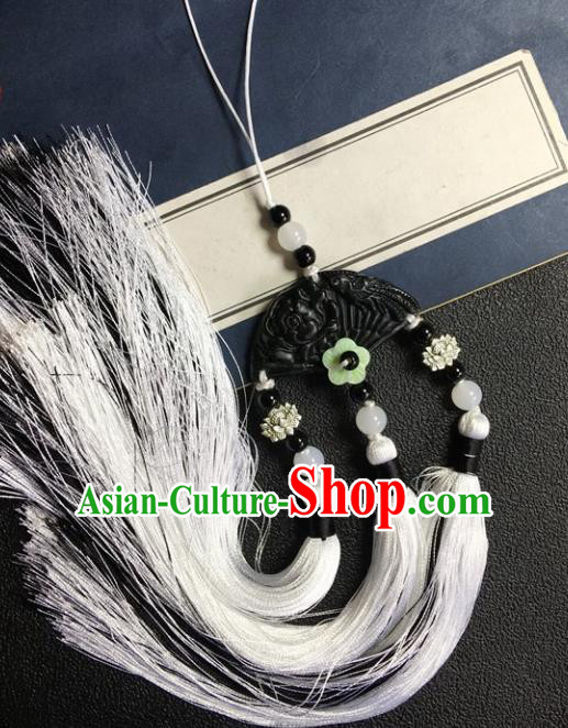 Traditional Chinese Hanfu Black Jade Carving Fan Waist Accessories Palace Tassel Pendant Ancient Swordsman Brooch