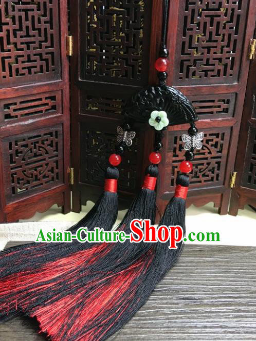 Traditional Chinese Hanfu Black Jade Carving Fan Waist Accessories Palace Red Tassel Pendant Ancient Swordsman Brooch