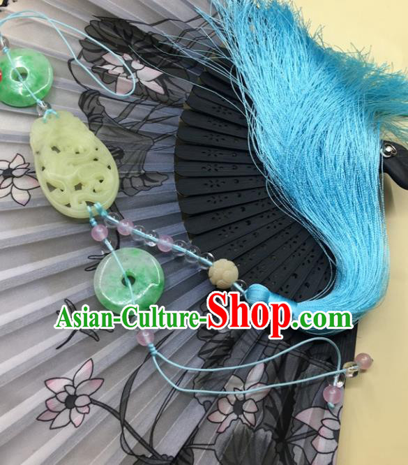 Traditional Chinese Hanfu Jade Carving Dragon Waist Accessories Palace Blue Tassel Pendant Ancient Swordsman Brooch