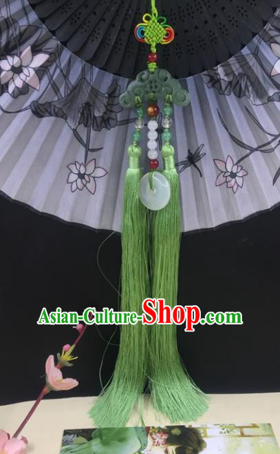 Traditional Chinese Hanfu Jade Carving Cloud Waist Accessories Palace Green Tassel Pendant Ancient Swordsman Brooch