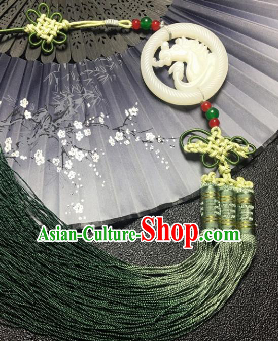 Traditional Chinese Hanfu Jade Carving Horse Waist Accessories Palace Tassel Pendant Ancient Swordsman Brooch