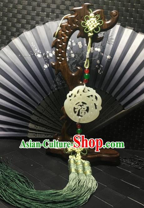 Traditional Chinese Hanfu Jade Carving Waist Accessories Palace Tassel Pendant Ancient Swordsman Brooch