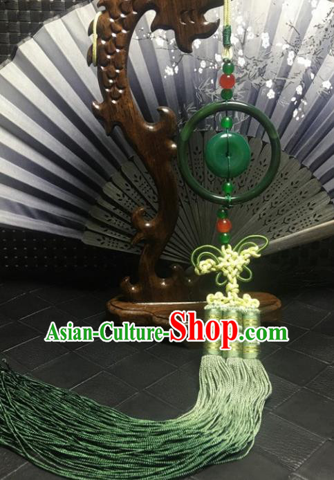 Traditional Chinese Hanfu Green Jade Carving Ring Waist Accessories Palace Tassel Pendant Ancient Swordsman Brooch