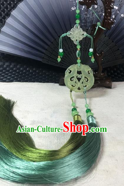 Traditional Chinese Hanfu Jade Carving Phoenix Waist Accessories Palace Tassel Pendant Ancient Swordsman Brooch
