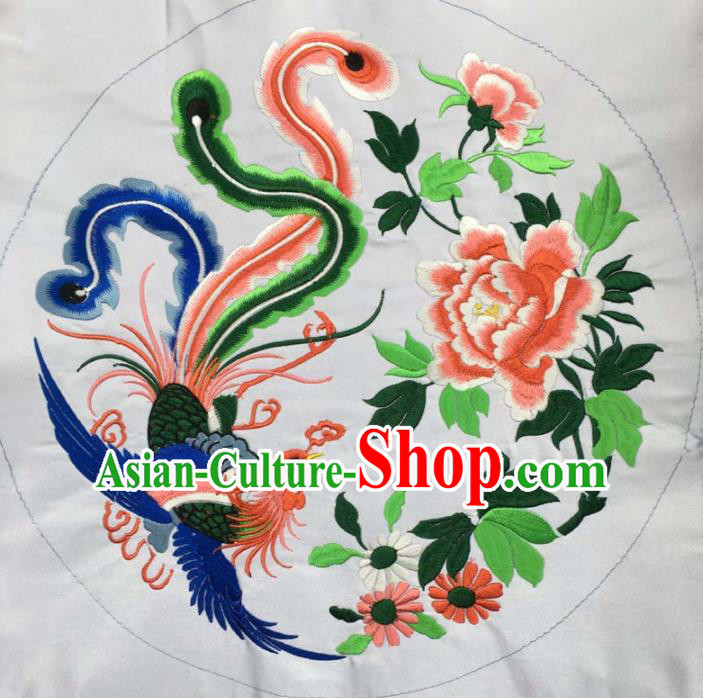 Chinese Traditional National Embroidered Phoenix Peony White Applique Dress Patch Embroidery Cloth Accessories