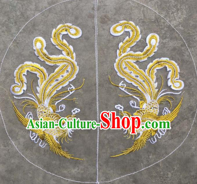 Chinese Traditional National Embroidered Double Phoenix Applique Dress Patch Embroidery Cloth Accessories