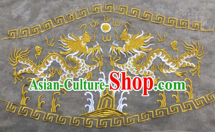 Chinese Traditional National Embroidered Yellow Dragons Applique Dress Patch Embroidery Cloth Accessories