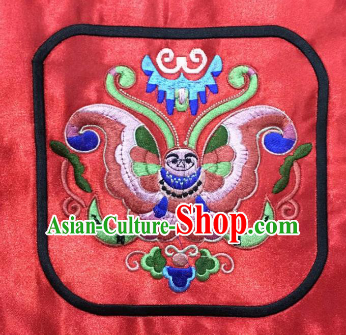Chinese Traditional National Embroidered Butterfly Red Applique Dress Patch Embroidery Cloth Accessories