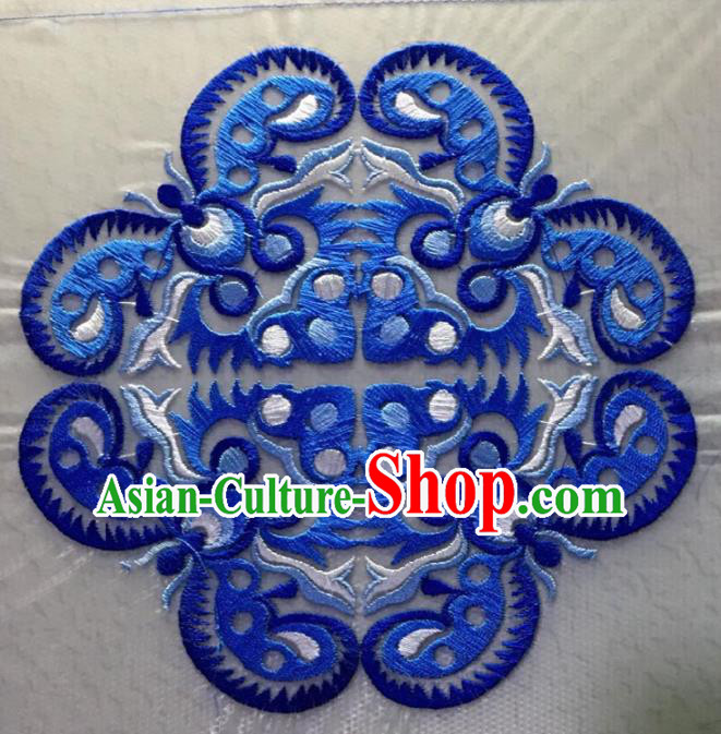 Chinese Traditional National Blue Embroidered Applique Dress Patch Embroidery Cloth Accessories