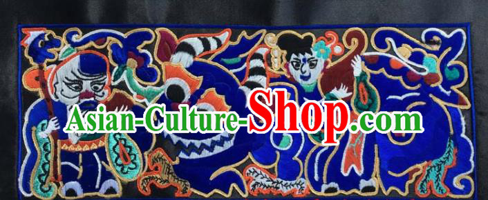 Chinese Traditional National Embroidered Royalblue Applique Dress Patch Embroidery Cloth Accessories
