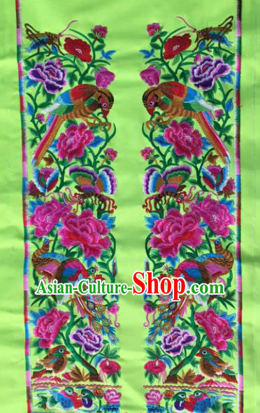 Chinese Traditional National Embroidered Peony Birds Green Applique Dress Patch Embroidery Cloth Accessories