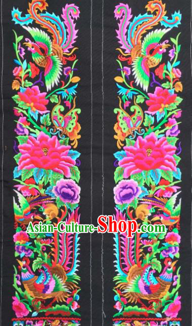 Chinese Traditional National Embroidered Phoenix Peony Black Applique Dress Patch Embroidery Cloth Accessories