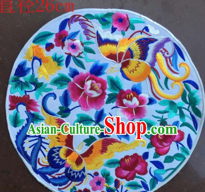 Chinese Traditional National Embroidered Butterfly Peony Applique Dress Patch Embroidery Cloth Accessories