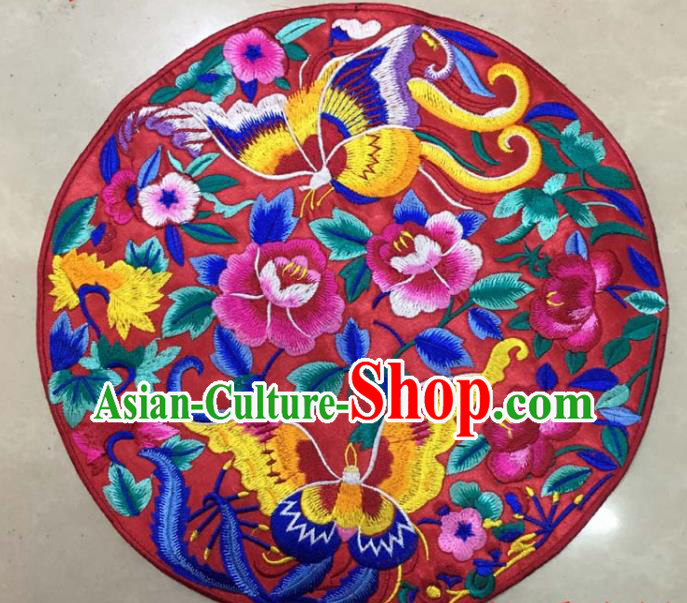 Chinese Traditional National Embroidered Butterfly Peony Red Applique Dress Patch Embroidery Cloth Accessories