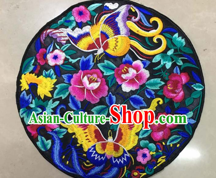 Chinese Traditional National Embroidered Butterfly Peony Black Applique Dress Patch Embroidery Cloth Accessories