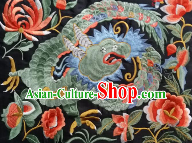 Chinese Traditional National Embroidered Dragon Peony Applique Dress Patch Embroidery Cloth Accessories