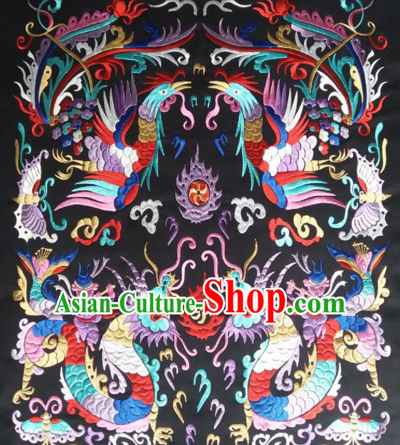 Chinese Traditional National Embroidered Dragon Phoenix Applique Dress Patch Embroidery Cloth Accessories