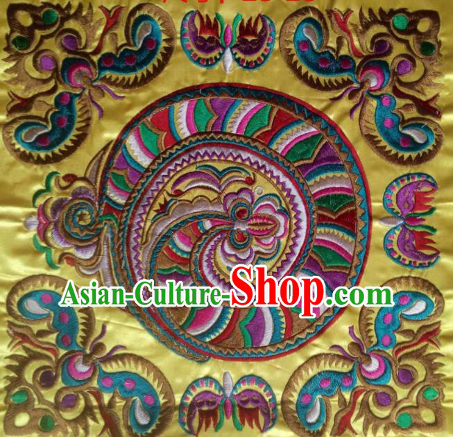 Chinese Traditional National Embroidered Dragon Butterfly Yellow Applique Dress Patch Embroidery Cloth Accessories