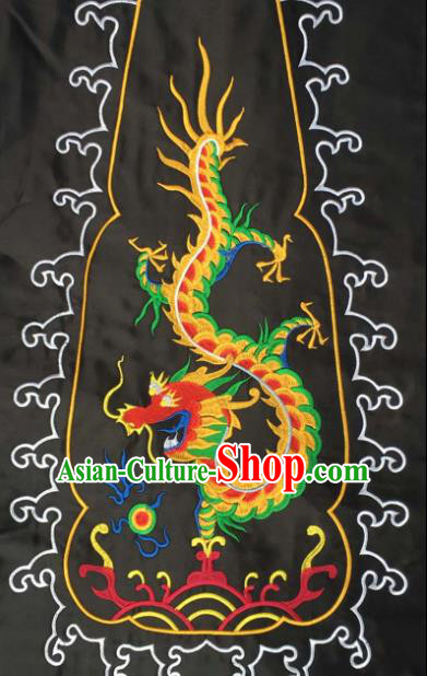 Chinese Traditional Embroidered Dragon Black Applique National Dress Patch Embroidery Cloth Accessories