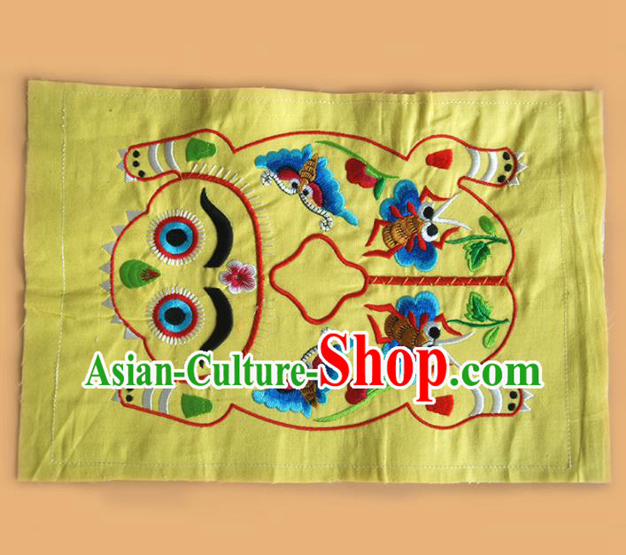 Chinese Traditional Embroidered Tiger Butterfly Yellow Applique National Dress Patch Embroidery Cloth Accessories