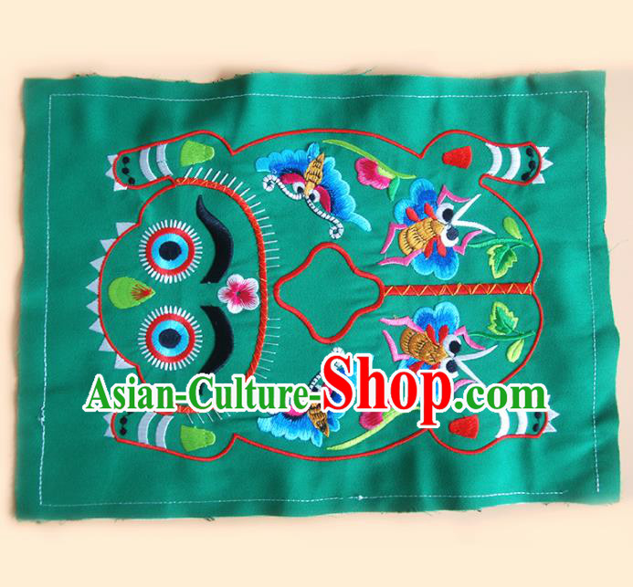 Chinese Traditional Embroidered Tiger Butterfly Green Applique National Dress Patch Embroidery Cloth Accessories