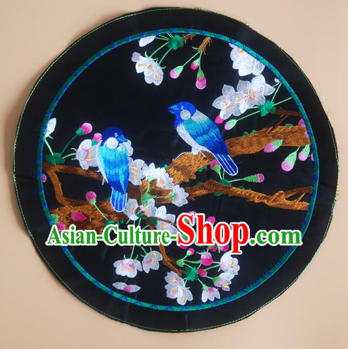 Chinese Traditional Embroidered Plum Birds Applique National Dress Patch Embroidery Cloth Accessories