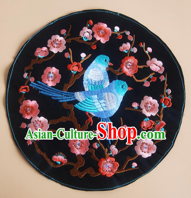 Chinese Traditional Embroidered Red Plum Birds Applique National Dress Patch Embroidery Cloth Accessories