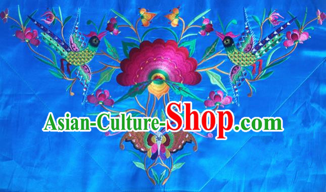 Chinese Traditional National Embroidered Phoenix Peony Blue Applique Dress Patch Embroidery Cloth Accessories