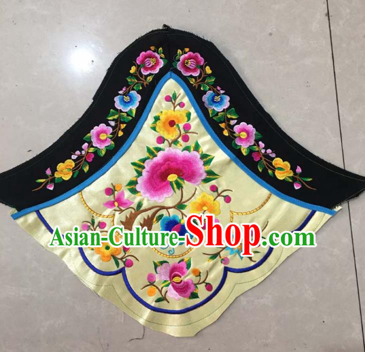 Chinese Traditional Embroidered Peony Yellow Stomachers Applique National Dress Patch Embroidery Cloth Accessories
