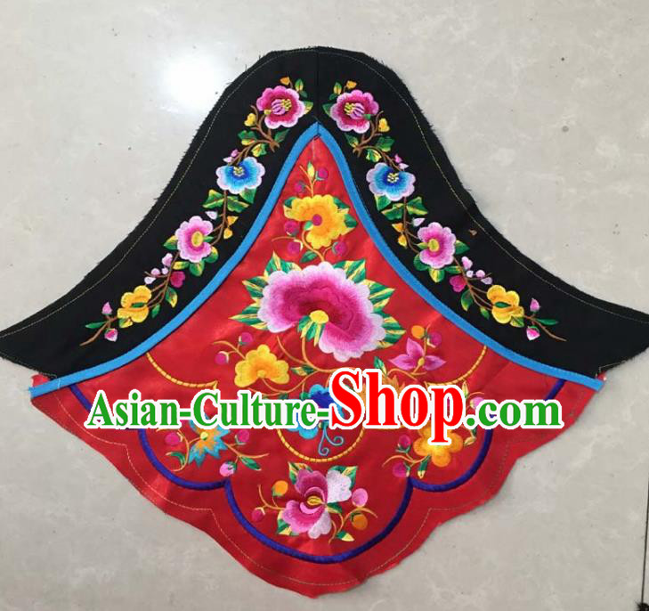 Chinese Traditional Embroidered Peony Red Stomachers Applique National Dress Patch Embroidery Cloth Accessories