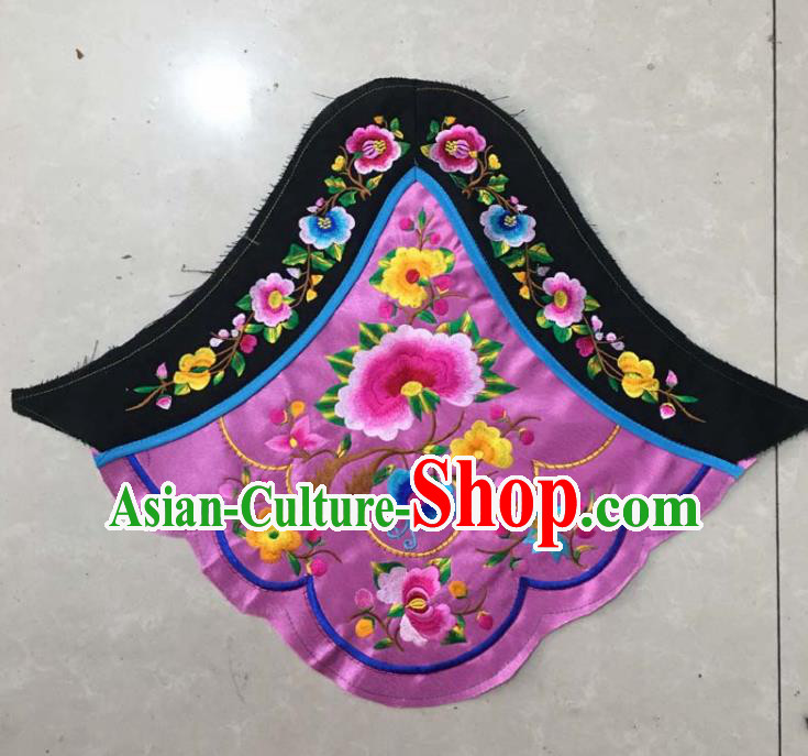 Chinese Traditional Embroidered Peony Purple Stomachers Applique National Dress Patch Embroidery Cloth Accessories